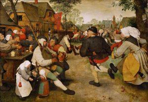 Peasant Dance, c. 1568, oil on wood, by Pieter Brueghel the Elder