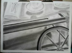 Tea Cart in Charcoal by James A Capers