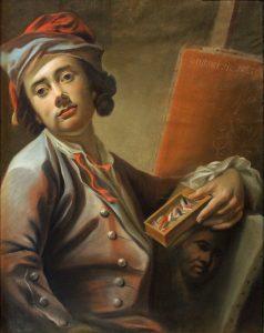 Georg Anton Urlaub (1713–1759) holding a box of pastels. Pastel Selfportrait, 1735