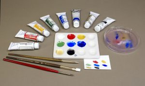 Gouache paints come in many colors and are usually mixed with water to achieve the desired working properties and to control the opacity when dry.