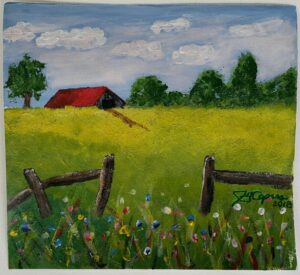 James's 1st Farm painting in acrylic