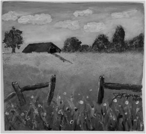 James's 1st Farm painting in acrylic in grayscale