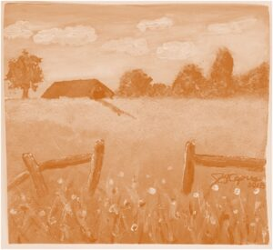 James's 1st Farm painting in acrylic in monochrome orange