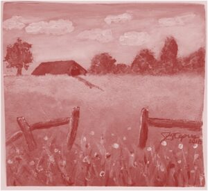 James's 1st Farm painting in acrylic in monochrome red