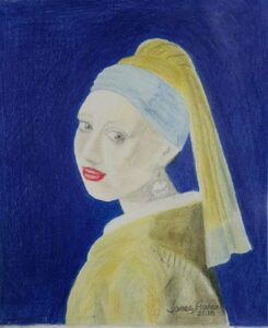Rendering of Vermeer's 'Girl with the Pearl Earring' - Colored Pencil - James Capers